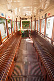 Interior of an old Lisbon tram Stock Image