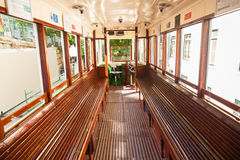 Interior of an old Lisbon tram Stock Photo