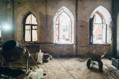Interior of old mansion room under reconstruction royalty free stock photography