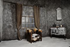 Interior of old medieval abandoned house Royalty Free Stock Photo