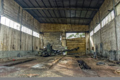 Interior of old mine and machinery. Abandoned mine workshops in Spain Stock Images