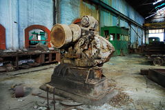 Interior of old mine and machinery. Abandoned mine workshops in Spain Stock Photos