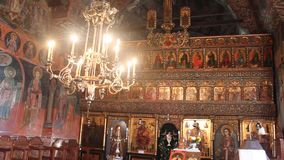 Interior of old orthodox church stock video