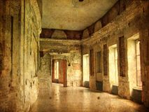 Interior of an old Palace. Ruines of a castle. Royalty Free Stock Photos