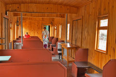 The interior of an old passenger rail car. Novosibirsk Museum of. Novosibirsk Museum of railway equipment in Novosibirsk, Siberia, Russia - July 7, 2017: the Royalty Free Stock Photo