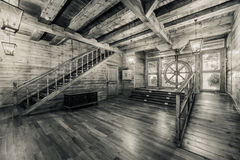 Interior of old pirate ship. Black and white image Stock Photography