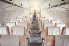Interior of an old plane. Interior of an old abandoned passenger plane Royalty Free Stock Photo