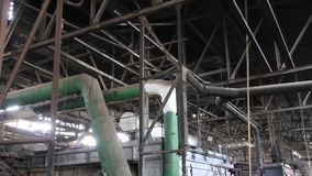 Interior of old power station stock footage