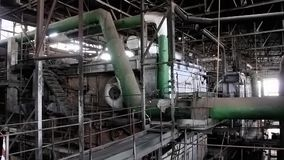 Interior of old power station stock video