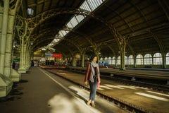 Interior of old railway station stock photo