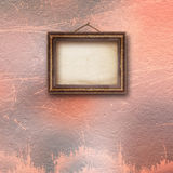 Interior of old room with wooden frames. For pictures on stone wall stock illustration