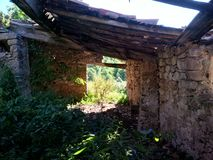 Interior of an old ruin. Inside becomes outside becomes inside Royalty Free Stock Photos