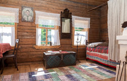 Interior of old rural wooden house in the museum of wooden archi Royalty Free Stock Photo