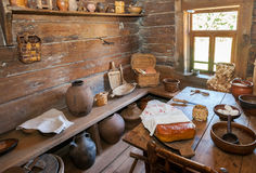 Interior of old rural wooden house in the museum of wooden archi Royalty Free Stock Image