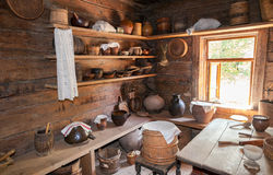 Interior of old rural wooden house in the museum of wooden archi Stock Images