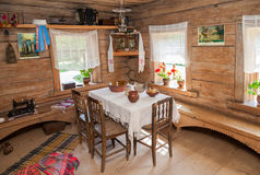 Interior of old rural wooden house in the museum of wooden archi Stock Photo