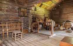 Interior of old rural wooden house Stock Images