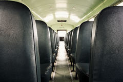 Interior of an old school bus Stock Photography
