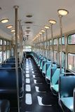 Interior of a old street car type PCC of the HTM in The Hague in the Netherlands from the HOVM museaum making rides in the city. Interior of a old street car stock image