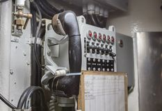 Interior of an old submarine Stock Photography