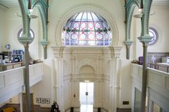 Old Synagogue Interior, Auckland, NZ. The interior of the old synagogue in Auckland, NZ, has been renovated. Where once the ark stood doors now open to the stock photos