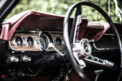 Interior Old-timer Ford Mustang Stock Image