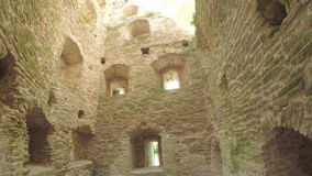 The interior of old tower ancient fortress stock video footage
