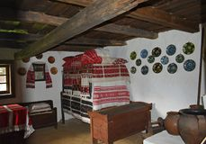 Interior of an old traditional Romanian house at the Astra museum in Sibiu, Romania. royalty free stock image
