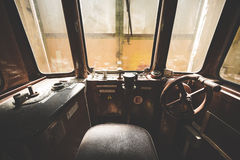 Interior of the old tram driver location Stock Images