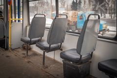 Interior of an old tram. Close up Royalty Free Stock Images