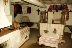 Interior of old ukrainian home in rural life Pirogovo, Kiev Stock Images