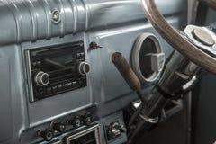 Interior of old vintage automobile. Radio in interior of old vintage automobile Stock Photography