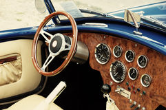 Interior of old vintage car, closeup Stock Photos