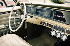 Interior of old vintage car, closeup Stock Photo