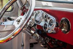 Interior of old vintage car Stock Photo