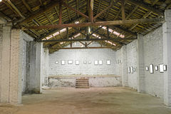 Interior of an old warehouse Stock Images