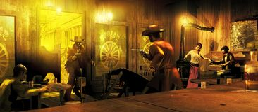 Saloon gunfight. Interior of an old western saloon. Two players stand up and menace mutually with a gun, while the other ones are frightened. At the backbround royalty free illustration