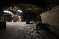 Interior of an old wine cellar, barrels Royalty Free Stock Photo