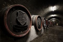 Interior of an old wine cellar, barrels Stock Photos