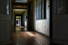 Long and old wooden hall Stock Image