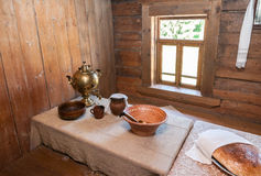 Interior of old wooden house Stock Photos