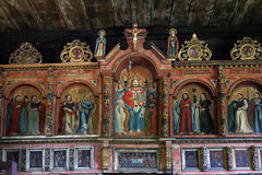 Interior of old wooden Orthodox church in Bartne, Beskids, Poland Stock Photos