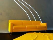 Interior - onda amarilla del sofá y del neón stock de ilustración