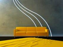 Interior - onda amarilla del sofá y del neón libre illustration
