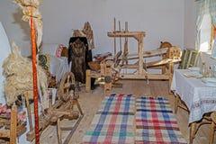 Interior at one farmhouse of ucrainian ethnics in Banat region,. NADLAC, ROMANIA - NOVEMBER 29, 2016: Interior of one farmhouse of Slovak ethnics.The Banat Stock Image