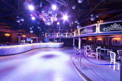 The interior of one of the rooms of the nightclub. MOSCOW - SEP 21: The interior of one of the rooms of the nightclub Base with mirror balls  on September 21 Stock Photos