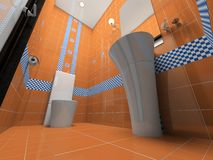 Interior of the orange bathroom Royalty Free Stock Images