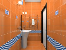 Interior of the orange bathroom stock photos
