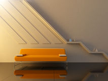 Interior - Orange couch in modern sitting room Stock Photos