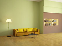 The interior with the orange sofa Royalty Free Stock Photography